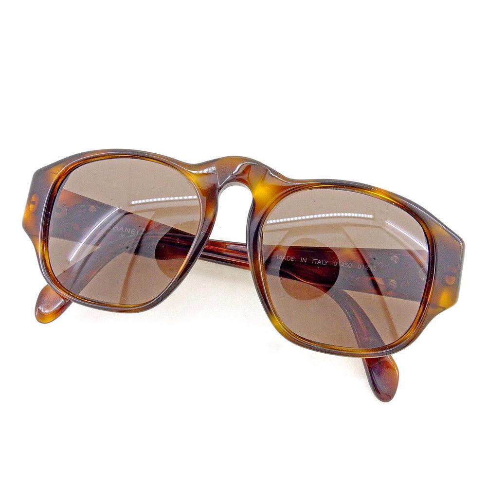 【中古】 シャネル CHANEL サングラス メガネ アイウェア レディース メンズ 可 フルリム べっ甲柄 ココマーク ベージュ×ブラウン×ゴールド プラスチック×ゴールド金具 美品 T4505