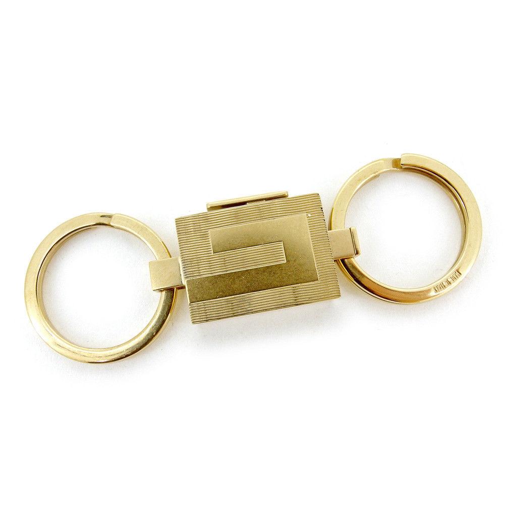 【中古】 グッチ GUCCI キーホルダー キーリング レディース メンズ 可 ロゴプレート ゴールド ゴールドメッキ 良品 T4529 .