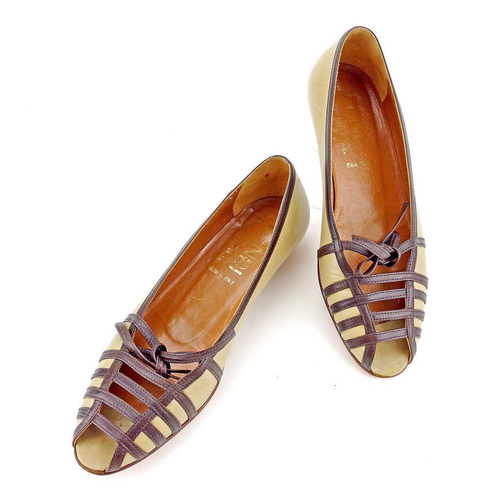【中古】 フェンディ FENDI パンプス シューズ 靴 レディース ♯34ハーフ オープントゥ リボン ベージュ×ブラウン レザー 良品 T4541 .
