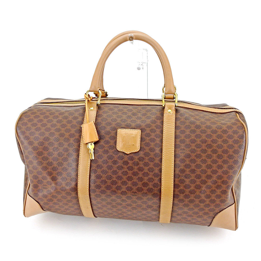Sale T4555 which there is Celine CELINE Boston bag travel bag traveling bag  lady s men s possible macadam brown X beige X gold PVC X leather reason in 3e770e03103ac