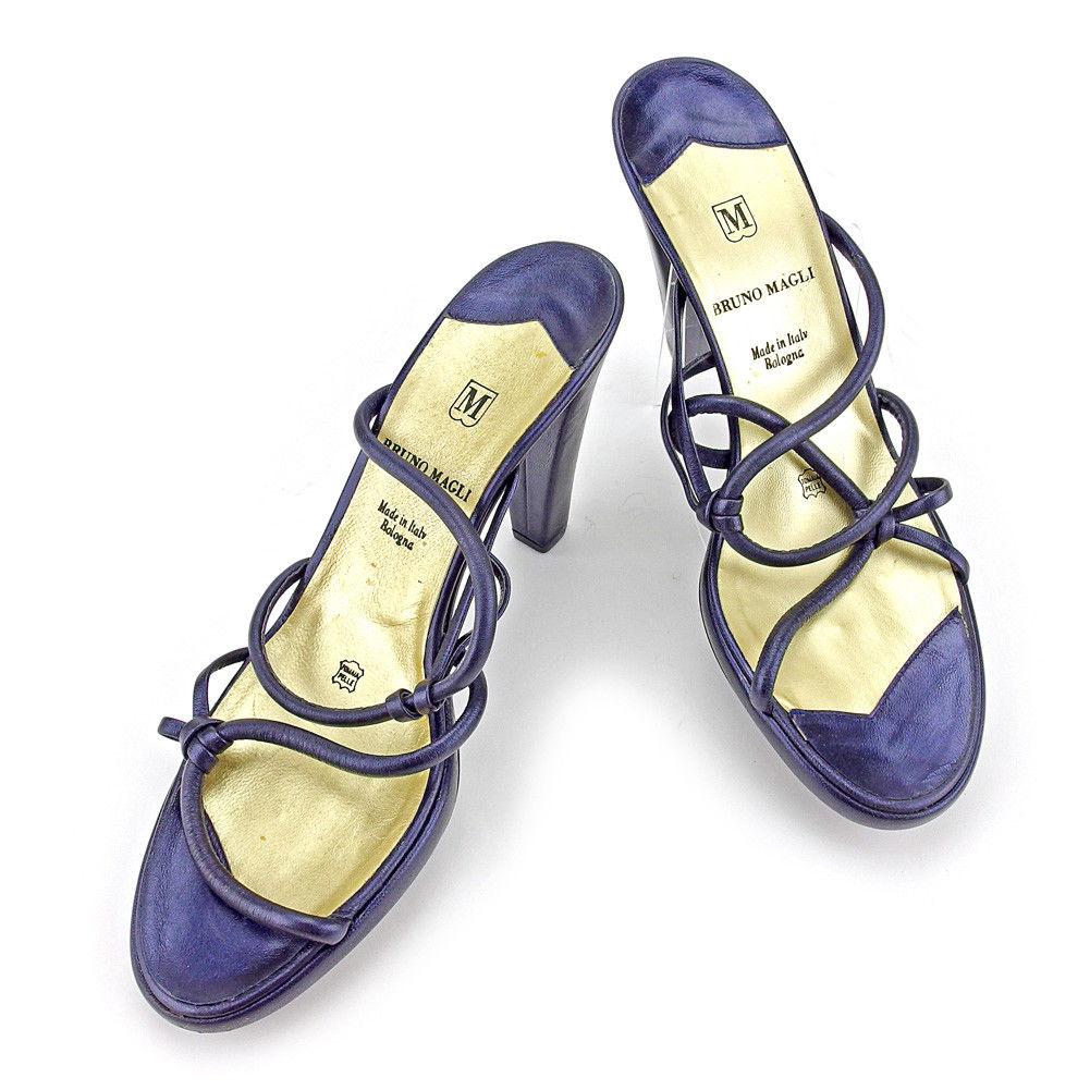 【中古】 ブルーノ マリ BRUNOMAGLI サンダル シューズ 靴 レディース ♯38ハーフ ハイヒール チャンキーヒール ダークパープル×ゴールド レザー 良品 T4573 .