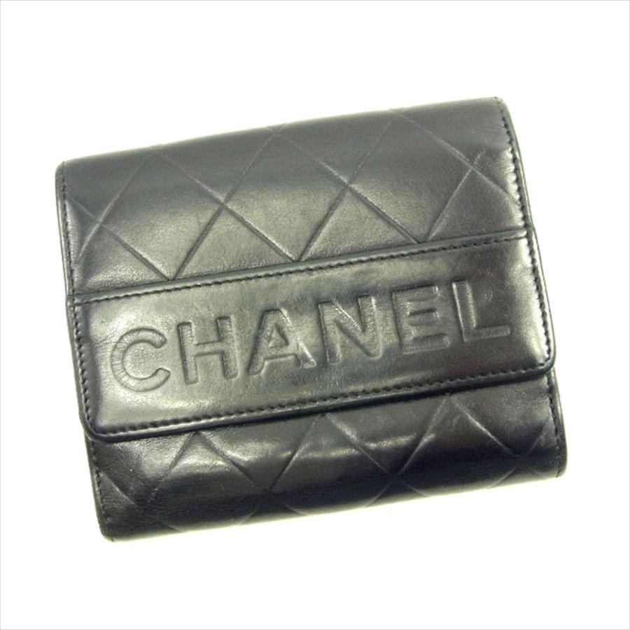 【中古】 シャネル CHANEL Wホック 財布 二つ折り 財布 レディース メンズ 可 カーフ ブラック レザー 人気 T4590