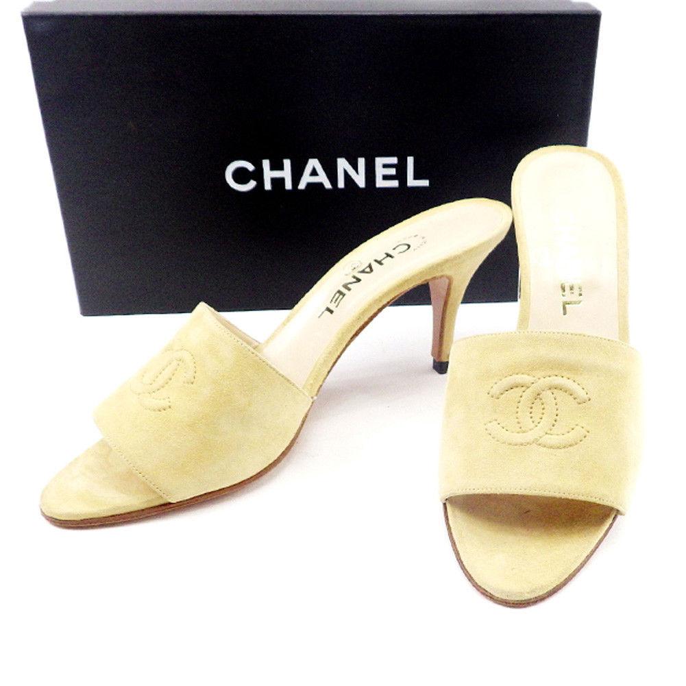 【中古】 シャネル CHANEL ミュール シューズ 靴 メンズ可 #38 ベージュ スエード T4610 .