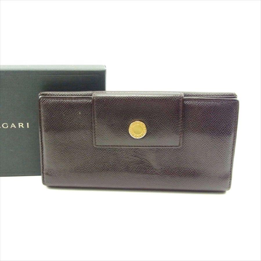 【中古】 ブルガリ 長財布 Wホック 三つ折り Bvlgari ブラウン T4621s