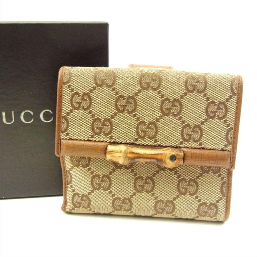 【中古】 グッチ Wホック財布 二つ折り 財布 Gucci ベージュ×ライトブラウン T4647s