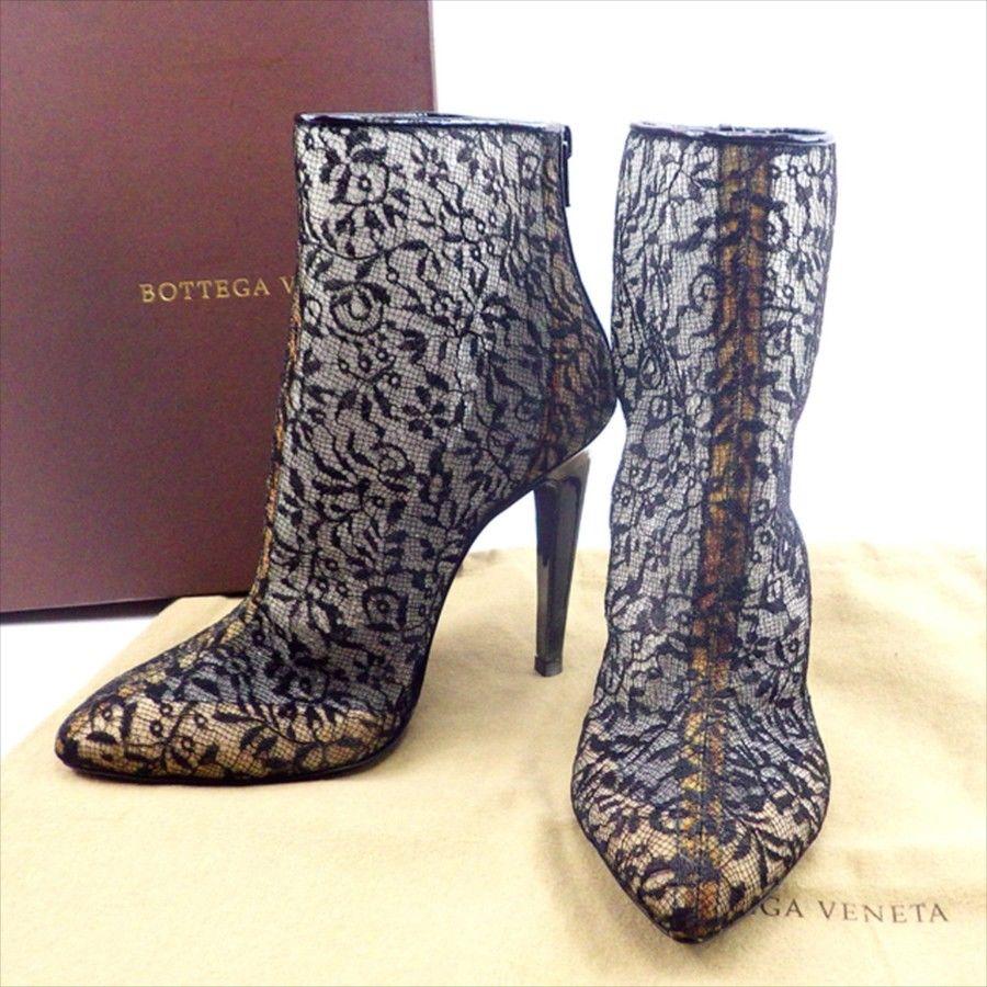 【中古】 ボッテガ ヴェネタ BOTTEGA VENETA ブーツ シューズ 靴 メンズ可 #36 ブラック T4664 .