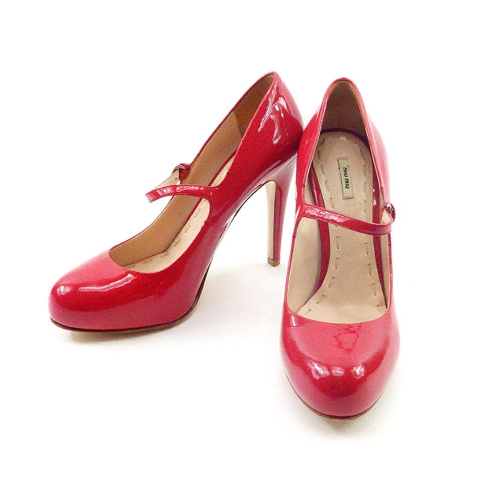 【中古】 ミュウミュウ miumiu パンプス 靴 シューズ レディース #37ハーフ ピンク系 エナメルレザー 人気 良品 T4666 .