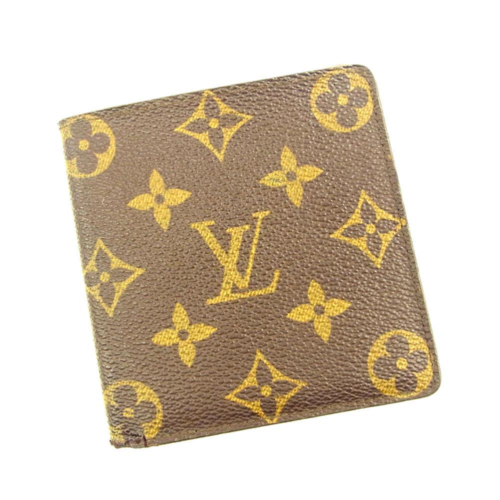 【中古】 ルイ ヴィトン Louis Vuitton 二つ折り札入れ 二つ折り 財布 レディース メンズ 可 ポルトビエ6 カルトクレディ モノグラム PVC×レザ- 人気 T4675 .