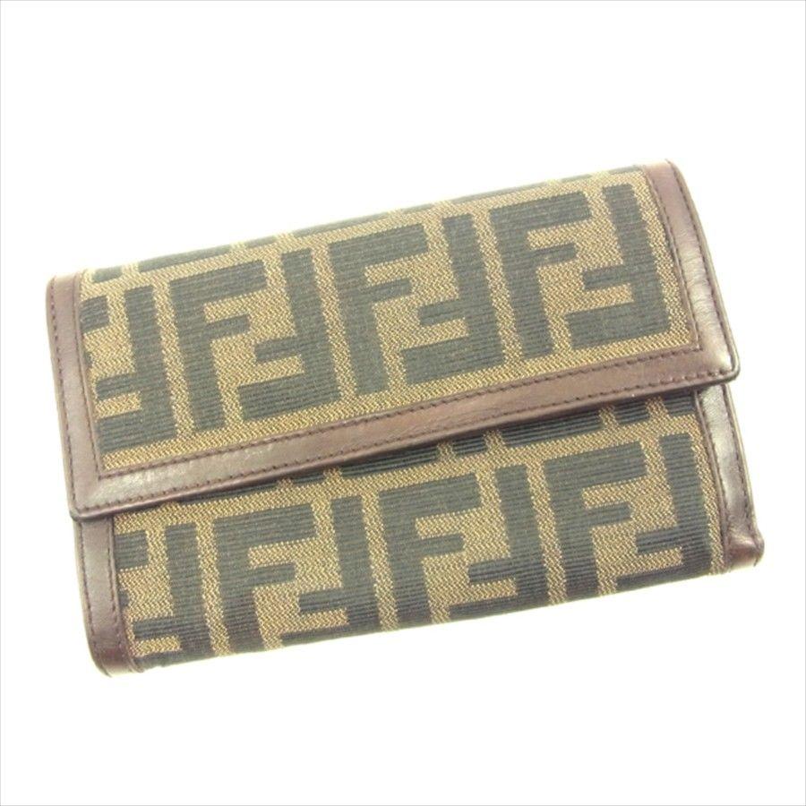 【中古】 フェンディ FENDI 三つ折り 財布 二つ折り 財布 レディース メンズ 可 ズッカ ブラウン×ベージュ×ブラック キャンバス×レザー 人気 T4680 .