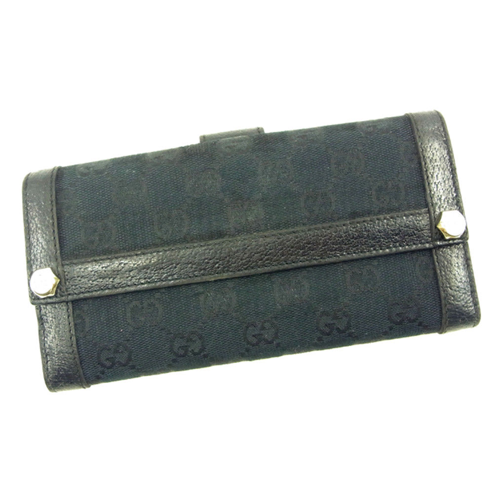 【中古】 グッチ 長財布 Wホック Gucci ブラック T4708s