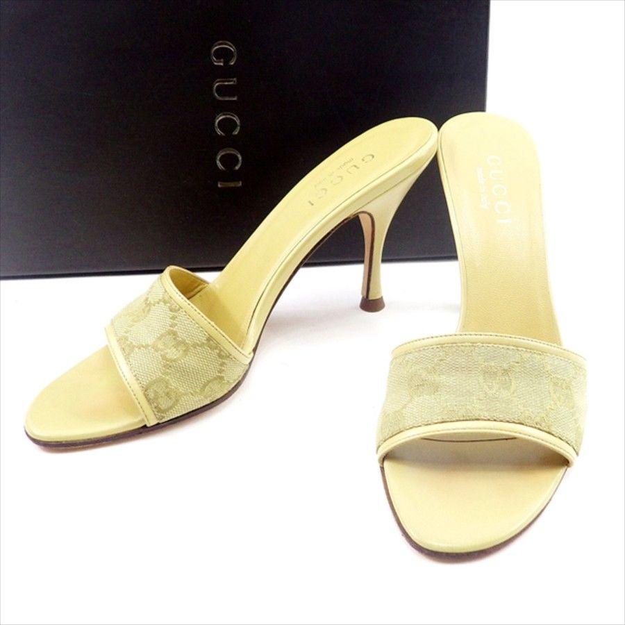 【中古】 グッチ Gucci サンダル シューズ 靴 レディース #36C ベージュ キャンバス×レザー T4732