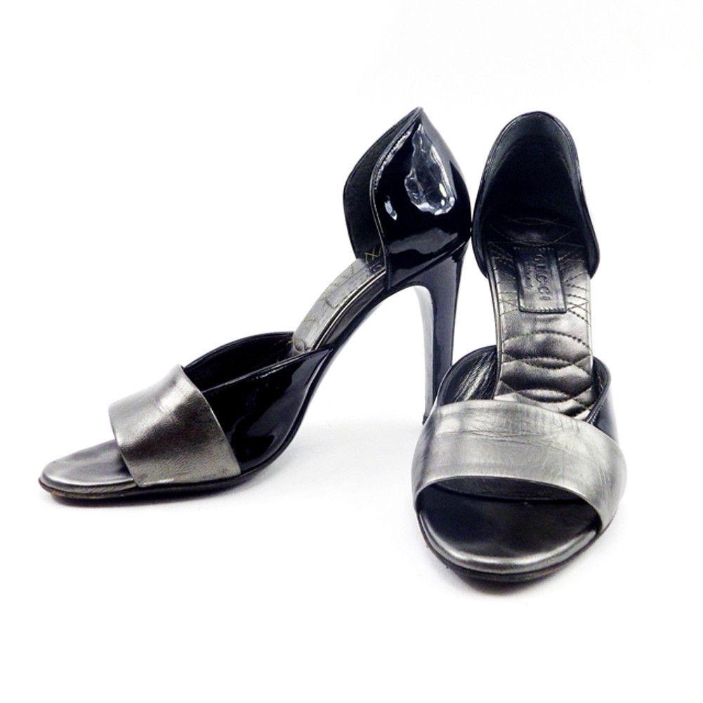 【中古】 グッチ GUCCI サンダル 靴 シューズ レディース #34ハーフ ブラック×シルバー エナメル×レザー T4738