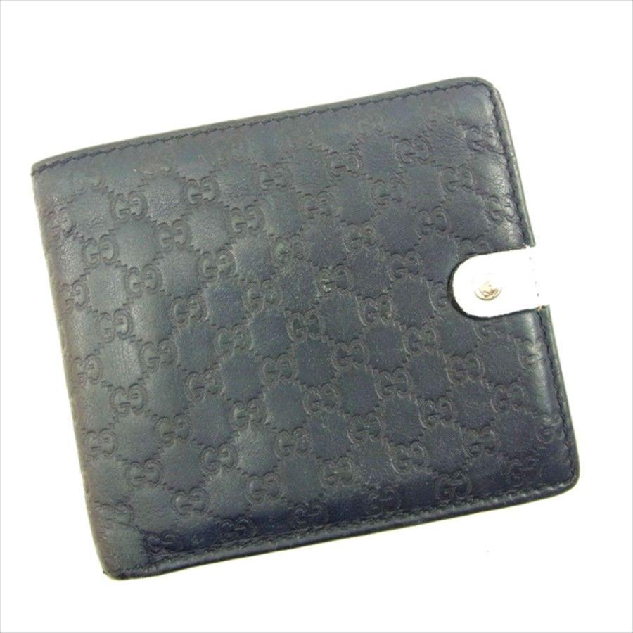 【中古】 グッチ GUCCI 二つ折り 財布 レディース メンズ 可 グッチシマ ネイビー×ホワイト×レッド レザー 人気 T4753
