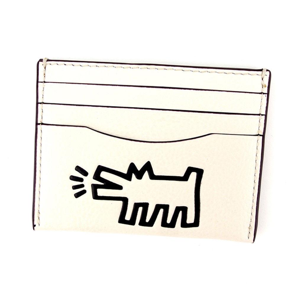 【中古】 コーチ COACH カードケース 名刺入れ レディース メンズ 可 キースヘリング ホワイト 白 レザー 中古 T4825