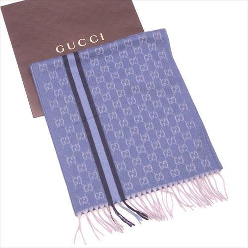 【中古】 グッチ マフラー フリンジ付き Gucci ブルー ネイビー系 T4843s