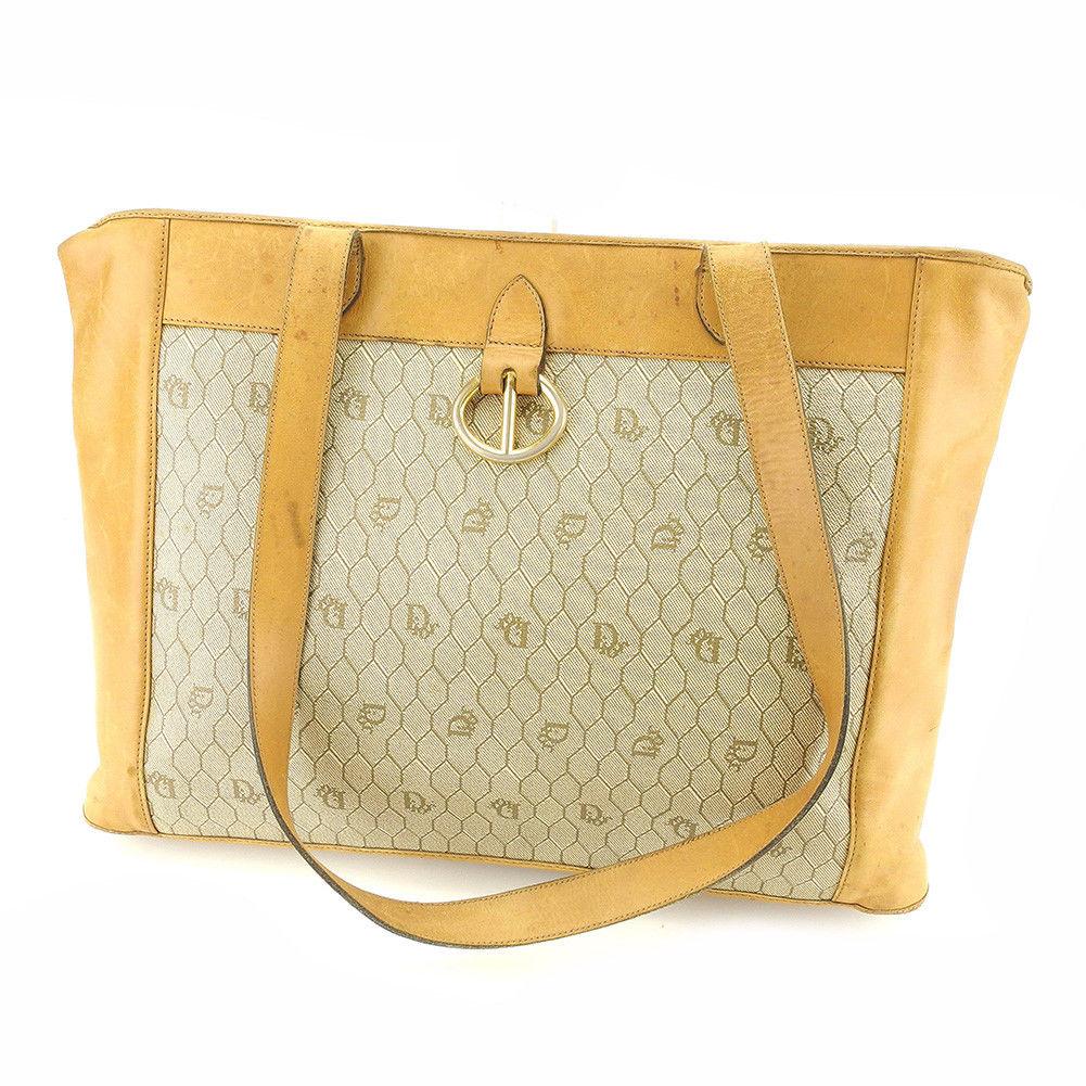 Dior Dior tote bag one shoulder lady s men s possible vintage Dior beige PVC  X leather vintage popularity T4865 5b30769407d41
