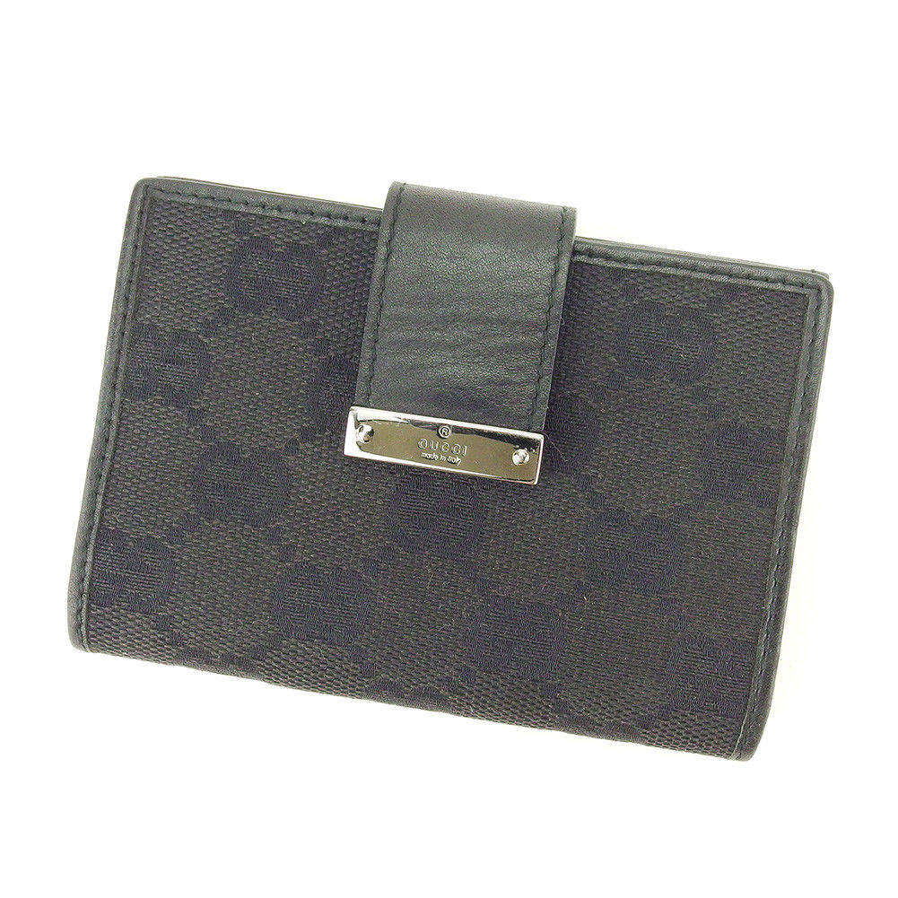2ca4a9607b2 Gucci GUCCI card case card case lady s men s possible GG pattern black  canvas X leather popularity quality goods T4890. Used - Very Good