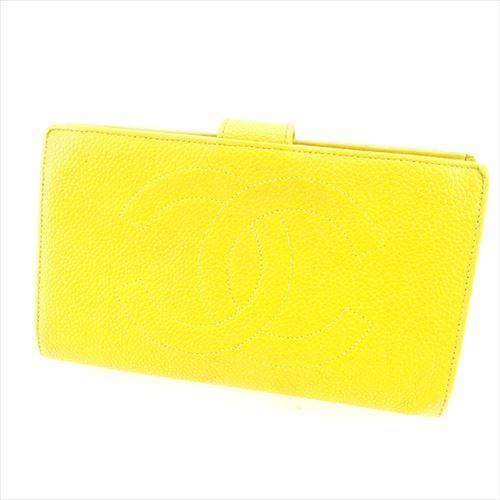 【中古】 シャネル 長財布 がま口 財布 Chanel イエロー ゴールド T4916s