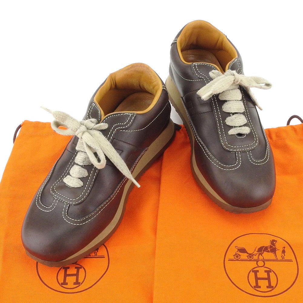 【中古】 エルメス HERMES スニーカー 靴 シューズ レディース #35 ブラウン レザー 人気 T4959 .