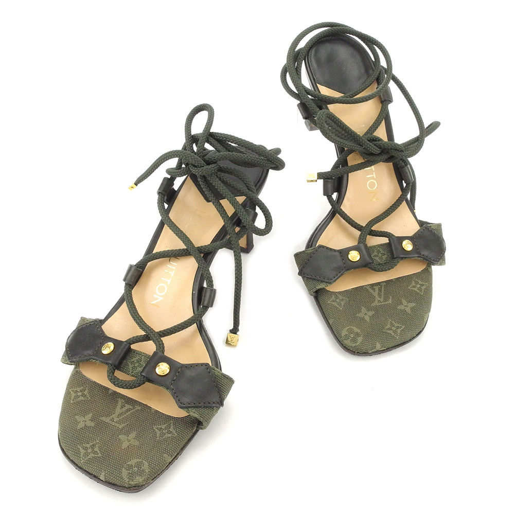 【中古】 ルイ ヴィトン LOUIS VUITTON サンダル 靴 シューズ レディース #34 モノグラムミニ グリーン エナメルレザー 人気 良品 T4992 .