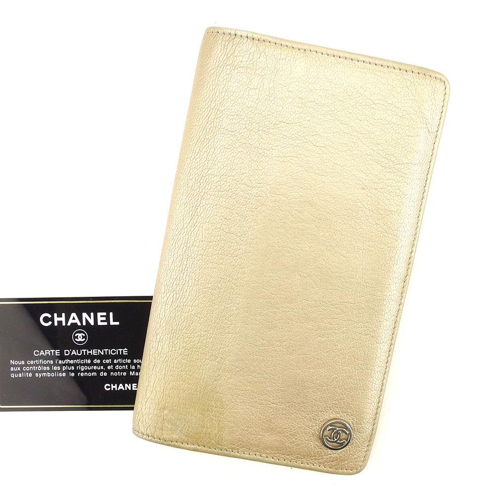 【中古】 シャネル 長財布 ファスナー付き 財布 Chanel ゴールド×シルバー T5045s
