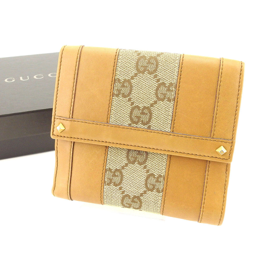 【中古】 グッチ GUCCI Wホック 財布 二つ折り レディース メンズ 可 スタッズ付き GGキャンバス ベージュ×ブラウン×ゴールド キャンバス×レザー 良品 T5061