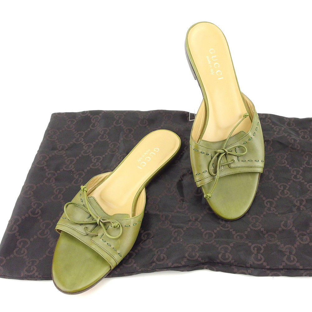 47c51fb0025 Leather quality goods sale T5109 of Gucci GUCCI sandals shoes shoes Lady s  ♯ 37C mule ribbon   stitch Green line