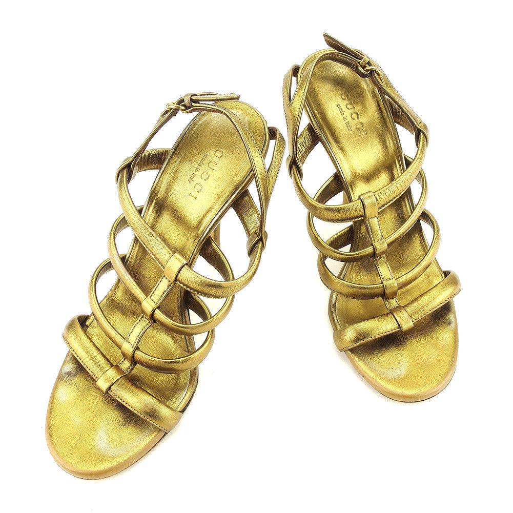 【中古】 グッチ GUCCI サンダル シューズ 靴 レディース ♯35 ピンヒール ゴールド系 レザー T5124