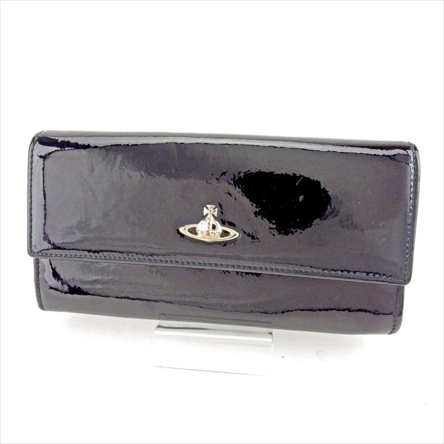 【中古】 ヴィヴィアン ウエストウッド 長財布 L字ファスナー 財布 Vivienne Westwood ブラック ゴールド T5196s