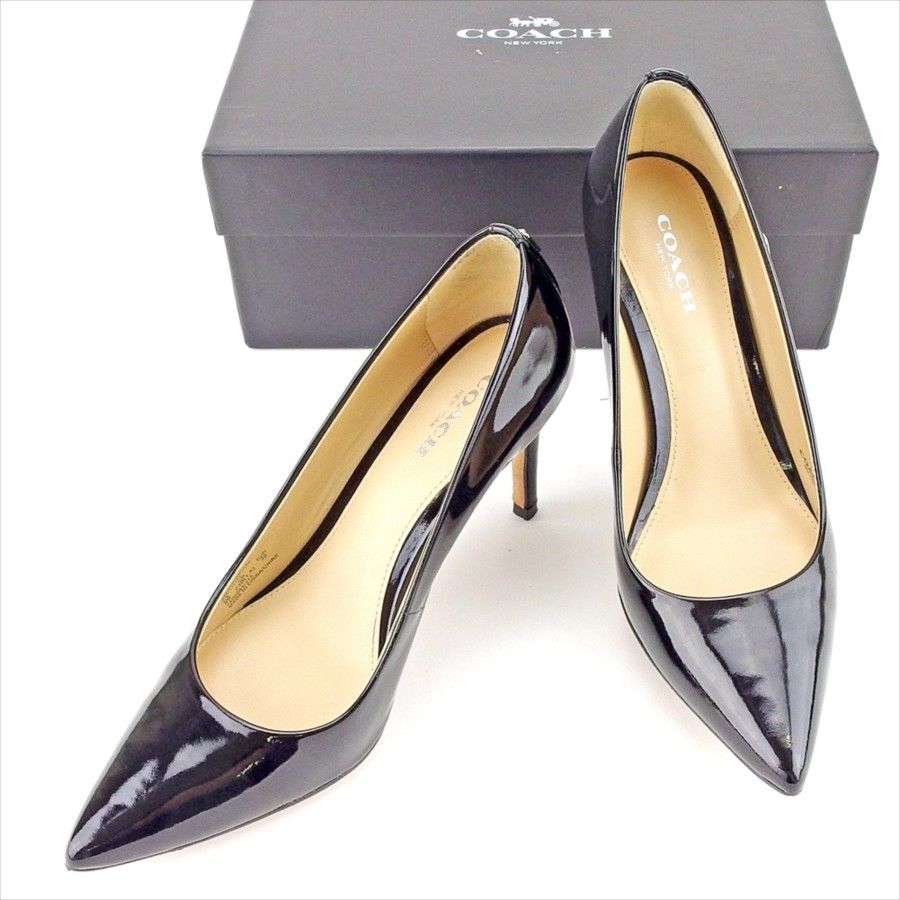 efc34b5e1 Coach COACH pumps shoes shoes Lady s ♯ 36 high-heeled shoes pointed toe  black silver enamel leather beauty product sale T5243