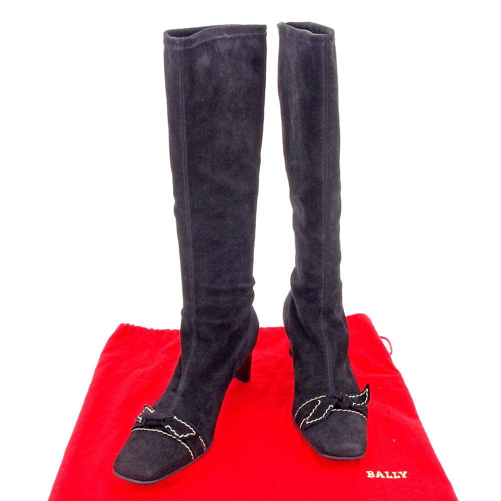 【中古】 バリー BALLY ブーツ シューズ 靴 レディース ♯36 リボンモチーフ ステッチ ロング ストレッチ ブラック系 スエード 人気 T5262 .