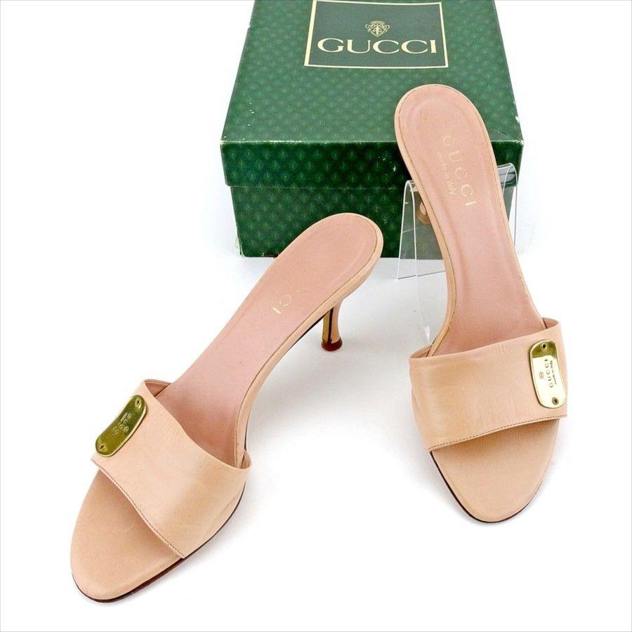 【中古】 グッチ GUCCI ミュール シューズ 靴 レディース ♯35ハーフC サンダル ピンク ゴールド レザー T5270
