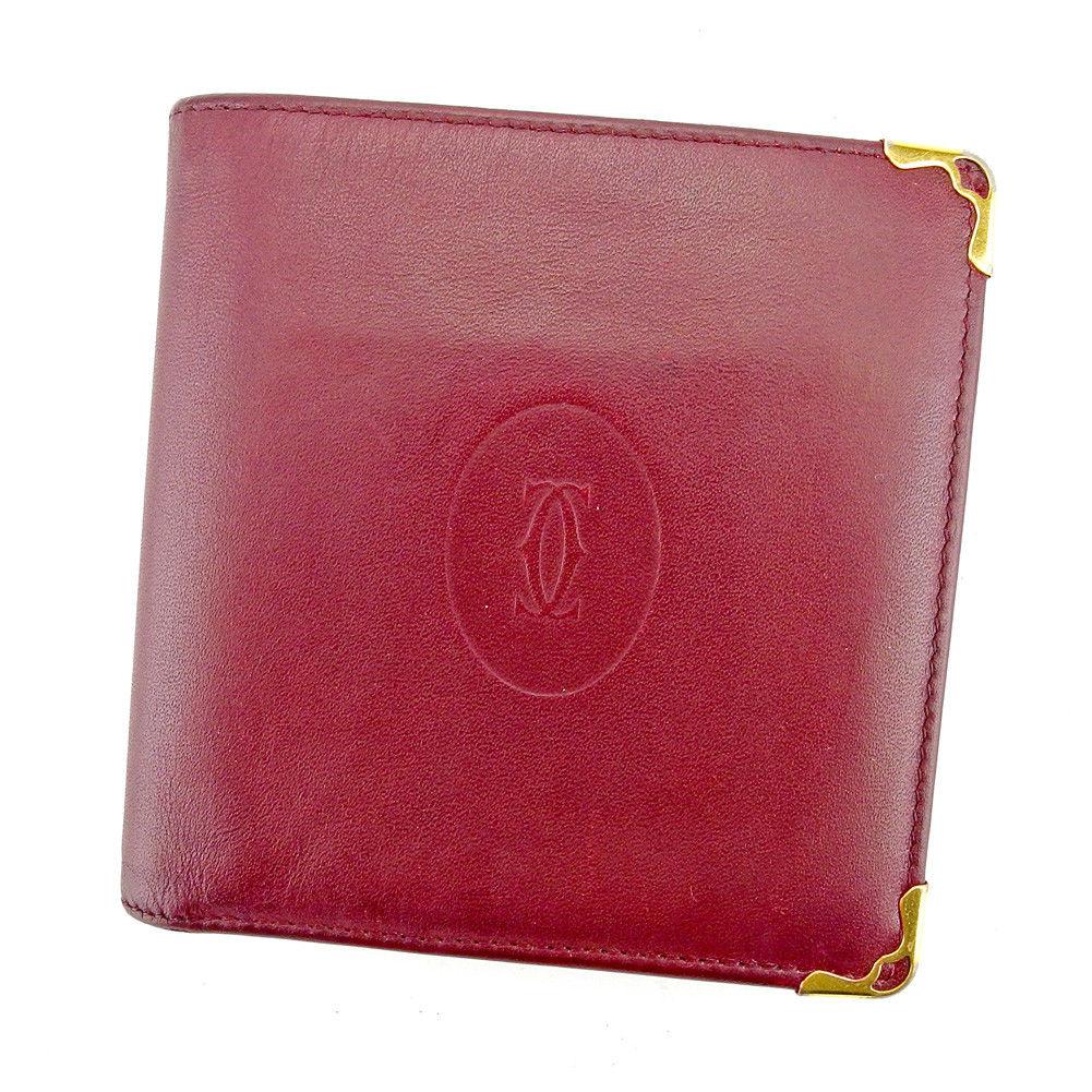 【中古】 カルティエ Cartier 二つ折り 財布 レディース メンズ 可 マストライン ボルドー ゴールド レザー 人気 T5280