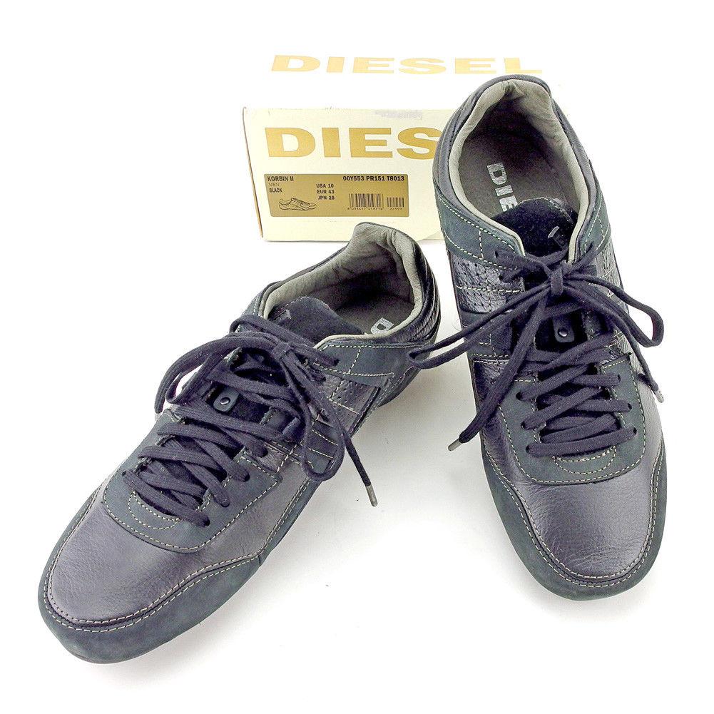 【中古】 ディーゼル DIESEL スニーカー シューズ 靴 メンズ ♯JPN28 ローカット KORBIN ブラック系 レザー×スエード 美品 T5295 .