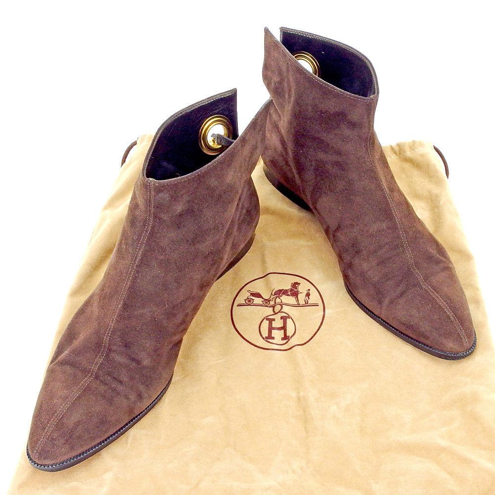 【中古】 エルメス HERMES ブーツ シューズ 靴 レディース ♯36ハーフ ショート ブラウン ゴールド スエード 良品 T5296 .