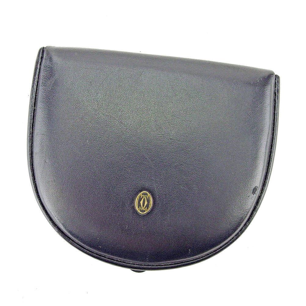【中古】 カルティエ コインケース 小銭入れ Cartier ブラック ゴールド T5312s