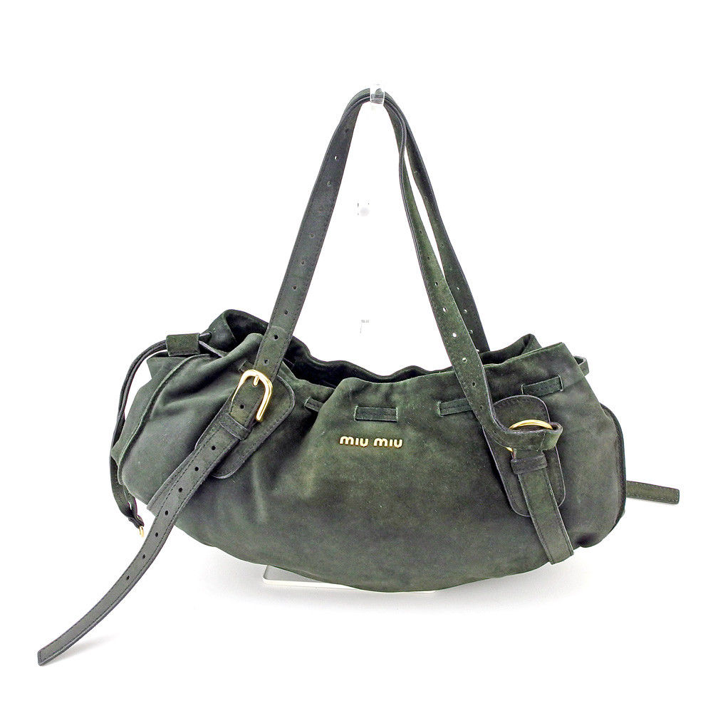 25eef3afb ミュウミュウ miu miu shoulder bag bag lady logo green gold suede popularity sale  T5334