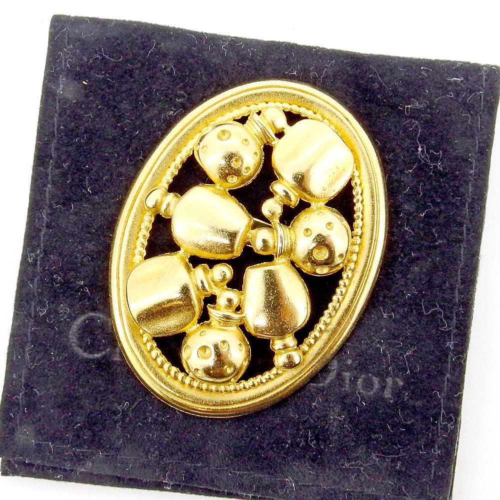 【中古】 ディオール Dior ブローチ ピンブローチ レディース ゴールド ゴールドメッキ 美品 T5344