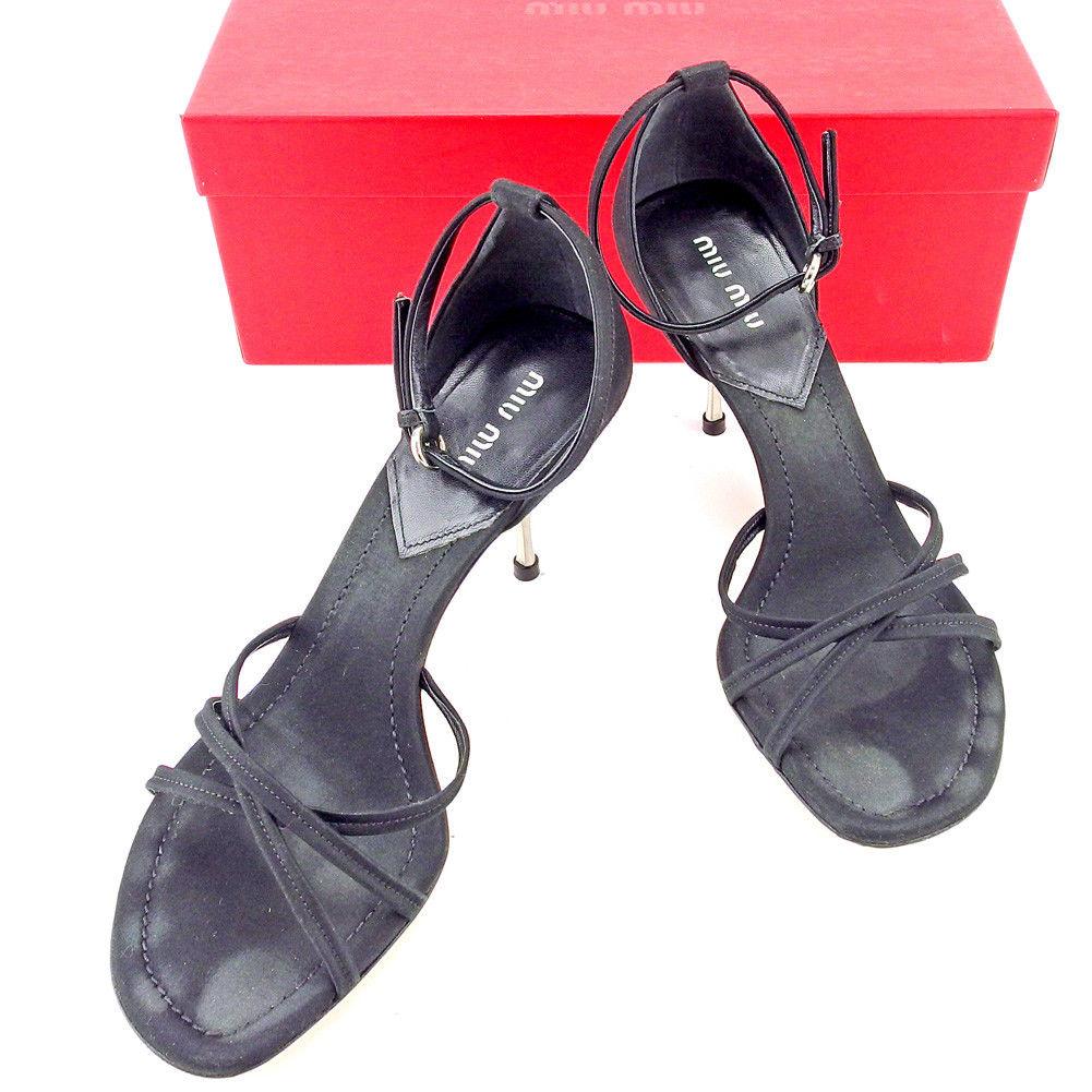 【中古】 ミュウミュウ miu miu サンダル シューズ 靴 レディース ♯38 アンクルストラップ ブラック シルバー サテン×レザー T5351