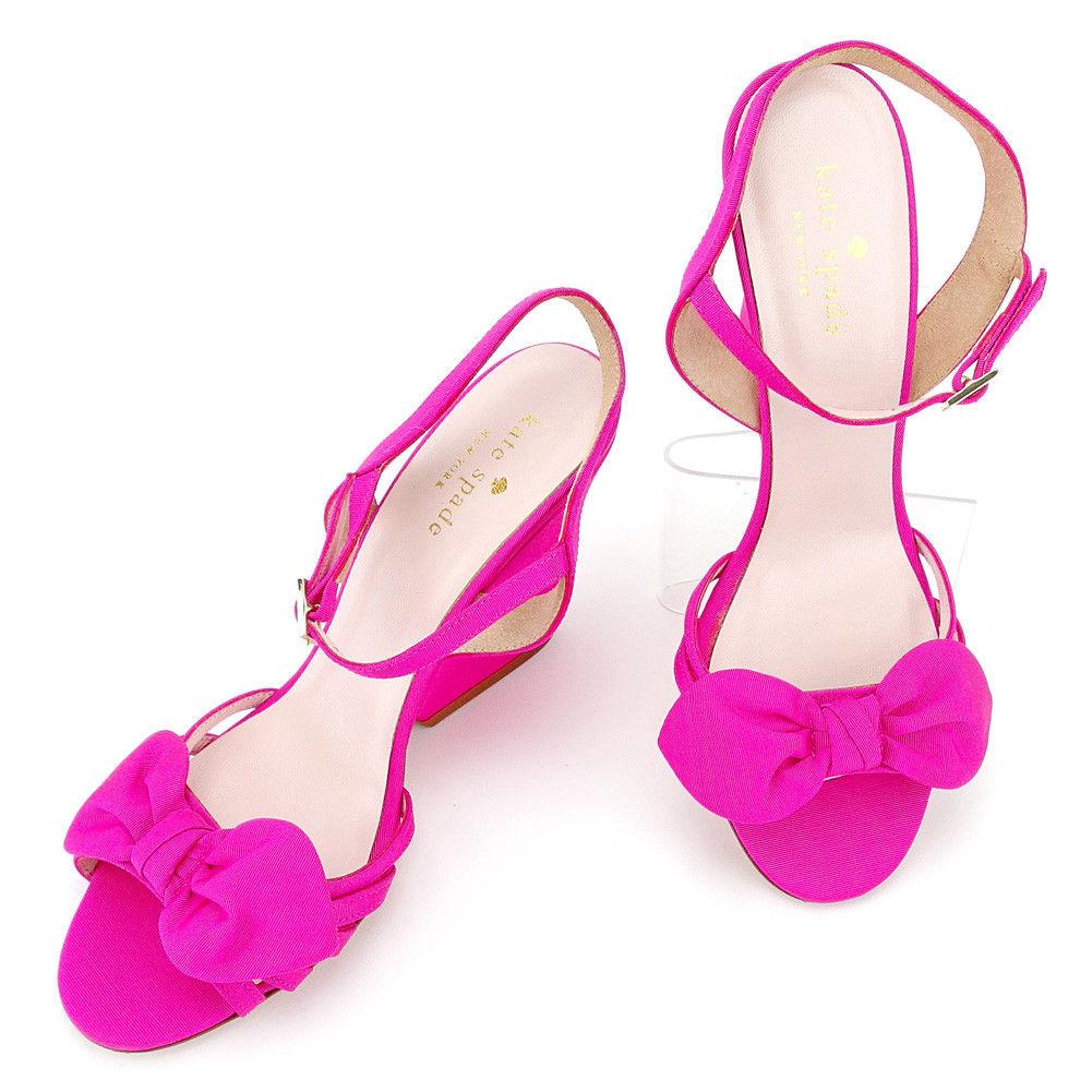 【中古】 ケイト スペード kate spade サンダル シューズ 靴 レディース ♯5ハーフC ウェッジソール ピンク ゴールド キャンバス×レザー T5353