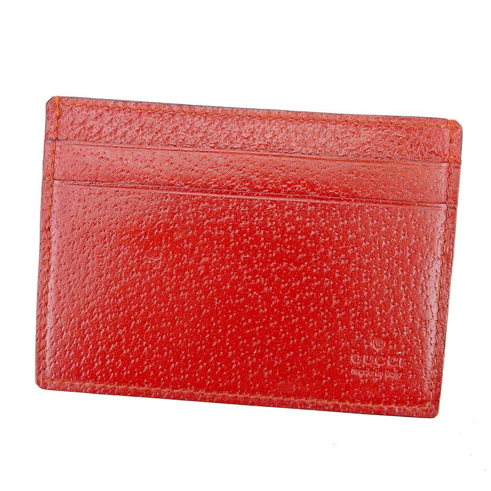 【中古】 グッチ GUCCI カードケース パスケース レディース メンズ 可 ロゴ レッド レザー 良品 T5360 .