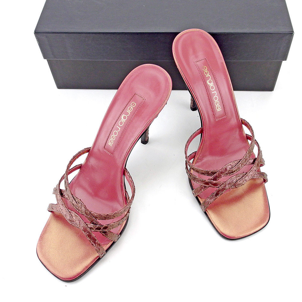 【中古】 セルジオロッシ Sergio Rossi サンダル シューズ 靴 レディース ♯36 ピンヒール ミュール ピンク パープル パイソン 美品 T5384 .
