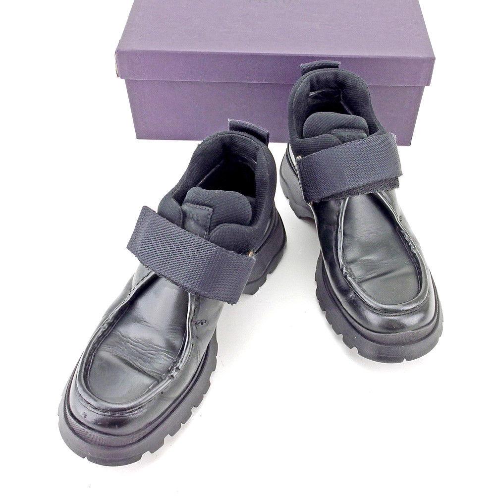【中古】 プラダ PRADA シューズ 靴 レディース ♯36ハーフ ビブラムソール ベルクロ ブラック系 レザー×キャンバス 人気 T5447 .
