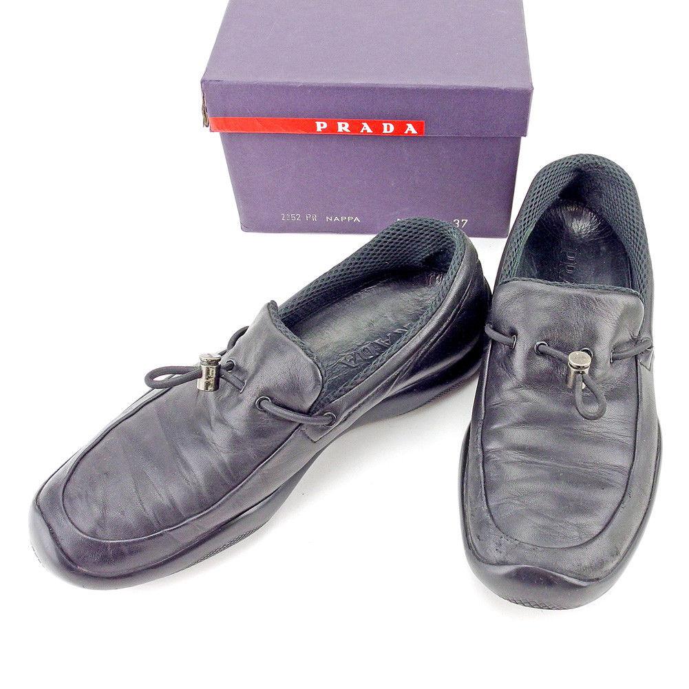 【中古】 プラダ PRADA シューズ 靴 レディース ♯37 スリッポン ブラック レッド レザー T5448 .