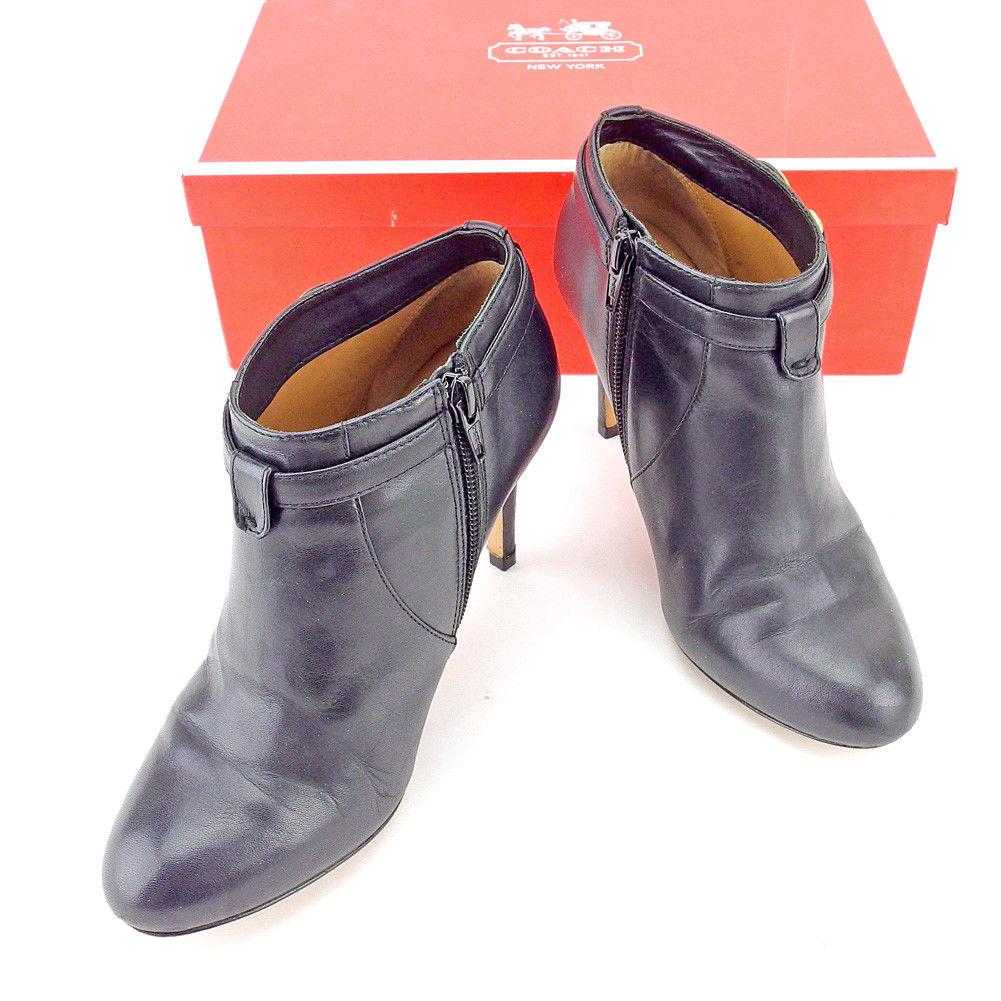 【中古】 コーチ COACH ブーツ シューズ 靴 レディース ♯5.5B ロゴプレート ブラック ゴールド レザー T5452 .