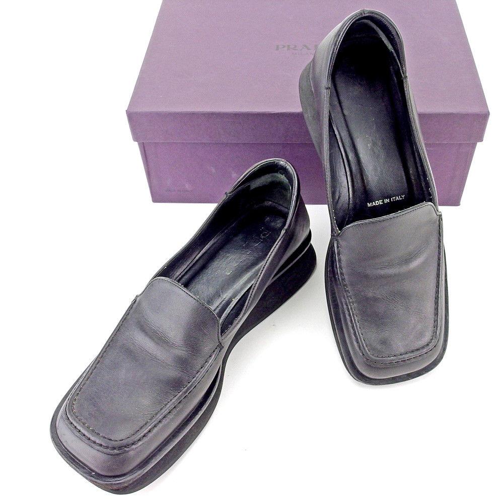 【中古】 プラダ PRADA シューズ 靴 レディース ♯38 スクエアトゥ ブラック レザー T5453 .