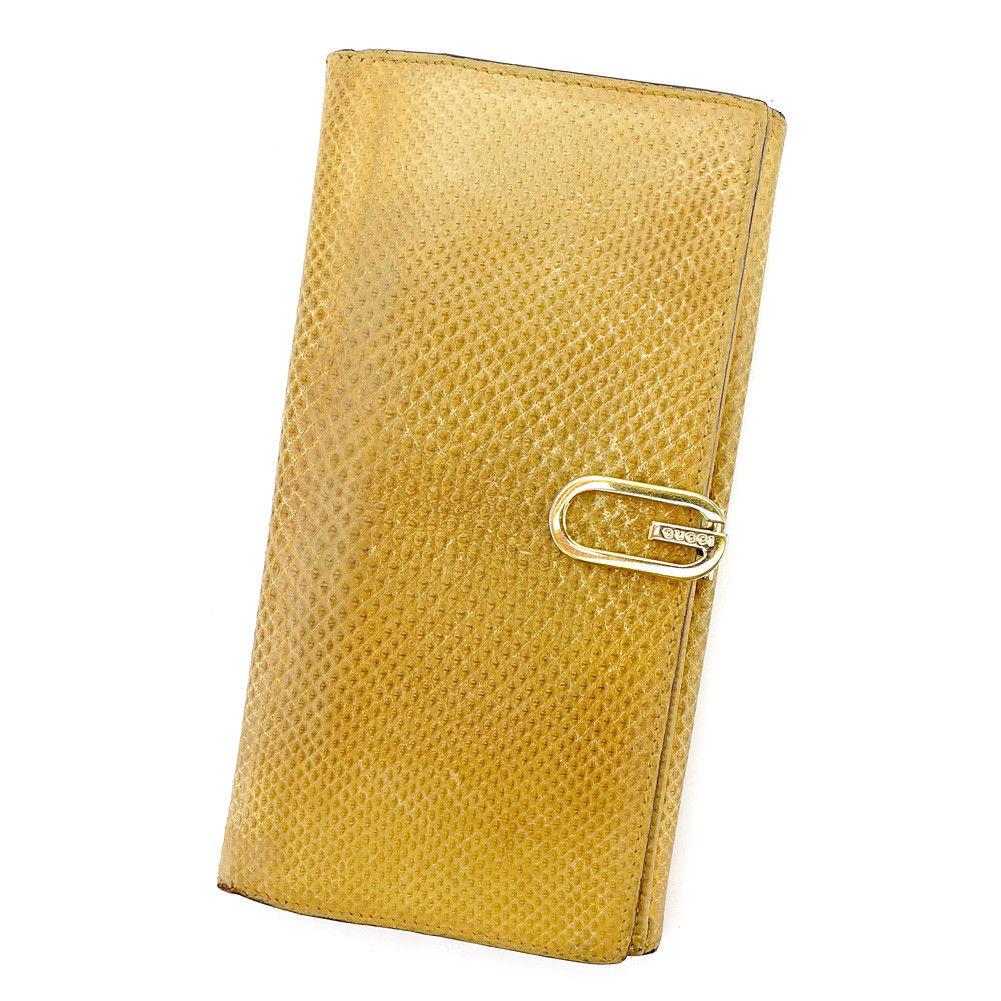 【中古】 グッチ GUCCI 長財布 財布 Wホック レディース メンズ 可 Gマーク ベージュ ゴールド リザード 人気 T5465