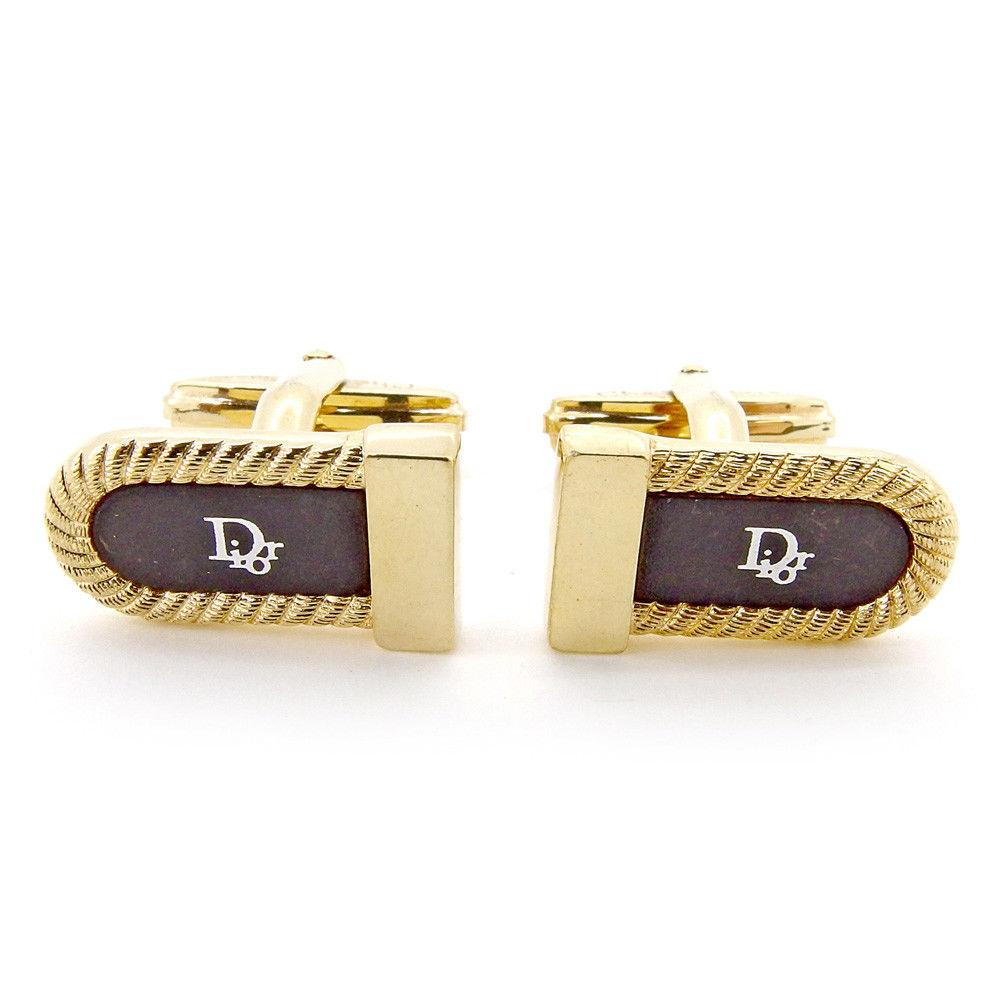 【中古】 ディオール Dior カフス スウィヴル式 メンズ ロゴ ゴールド ブラック シルバー ゴールドメッキ 良品 T5500