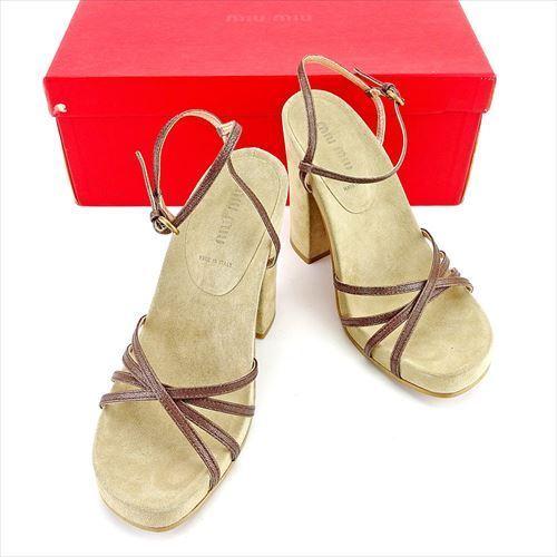 【中古】 ミュウミュウ miu miu サンダル シューズ 靴 レディース ♯36ハーフ チャンキーヒール ベージュ ブラウン ゴールド スエード×レザー T5547