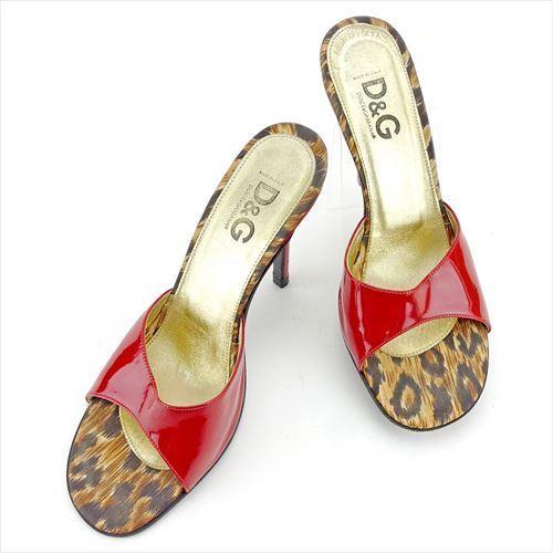 【中古】 ドルチェ&ガッバーナ DOLCE&GABBANA ミュール シューズ 靴 レディース ♯37ハーフ サンダル ドルガバ レッド ベージュ ブラウン エナメルレザー T5617 .
